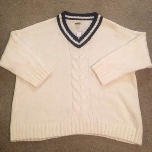 Navy and white V neck sweater